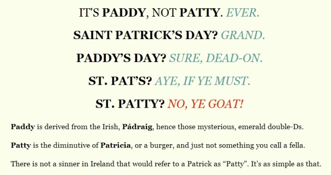 paddy not patty